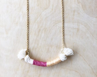 Mini Wrapped Rope Necklace | Fiber Art | Wearable Art