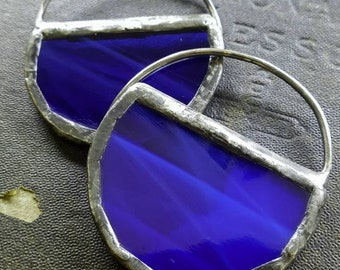 Moon Glass - Stained Glass Hoop Earrings - Cobalt Blue - Sterling Ear Wires