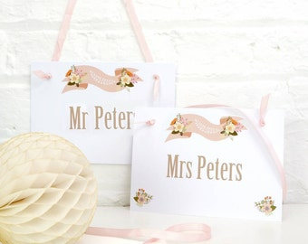 Personalised Mr and Mrs Wedding Chair Signs for Wedding Venue Decor - Custom Colour and Font Choices