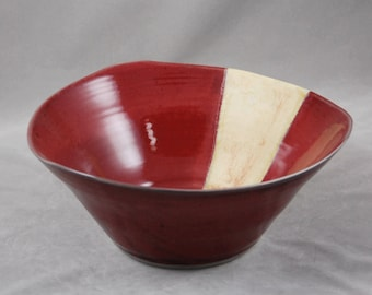 Large Serving Bowl Triangular Shape in Red with Yellow Accent, Centerpiece Bowl, Fruit Bowl, Wheel Thrown Stoneware Huge Bowl