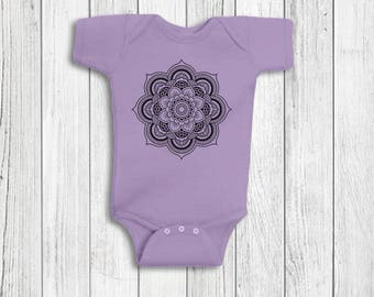 Baby Girl Clothes - Mandala, Yoga Baby Clothes, Baby Girl Romper, Baby Shower Gift, Baby Girl Gift, Baby Outfits For Girls