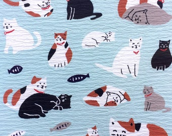 Cute Cat Stickers - Fish Stickers - Japanese Washi Paper Stickers - Chiyogami Paper Stickers  (S167)
