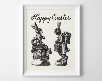 Easter Decoration, Happy Easter Print, Vintage Easter Art, Mr And Mrs Easter Bunny Print, Bunny Rabbit Art, Black and Ivory Art Spring Decor