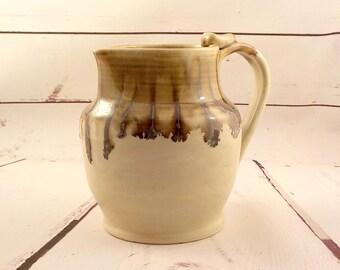 Ceramic Pitcher - Stoneware Pouring Jug - Sangria or Water Server - Vase - Ready to Ship - Cream, Jasper Brown Gold - Ewer - Gift Item  s522