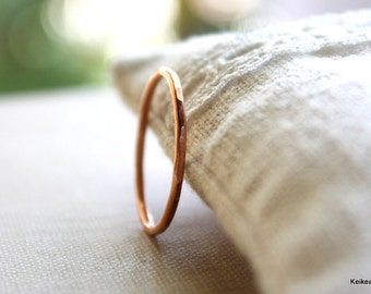 Hammered Copper Stacking Thin Handmade Ring Copper Jewelry