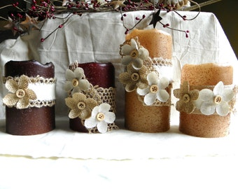 LED Pillar Timer Candles, 4 or 6 Inch Primitive Textured PILLAR Candles, Battery Operated, Night Lights, Entryway, Bath, Window Candles