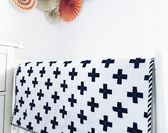 Monochrome quilt. Swiss cross baby blanket. Black and white. Play mat. Nursery decoration. Kids room.