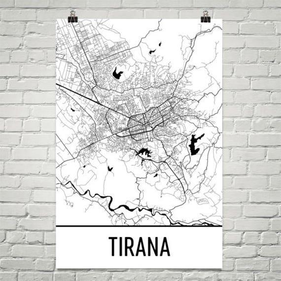 Tirana Map Tirana Art Tirana Print Tirana Albania Poster