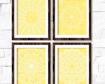 Geometric Mandala Floral Printable Wall Art Set of 4 -8x10- Yellow Instant Download Digital Print Livingroom Home Decor