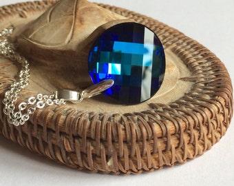 Blue Swarovski Necklace, Large Swarovski Necklace,  Bermuda Blue Swarovski Twist Pendant,  Swarovski Jewelry