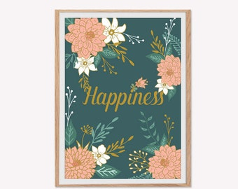 Floral motives, Happiness, poster, decoration poster