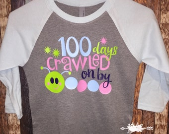 100 days crawled on by, personalized shirts, youth baseball tee, 100th day of school shirt, school tees