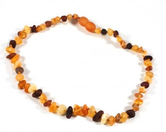 Children Variegated Amber Beads Baltic Amber Baby Teething Necklace