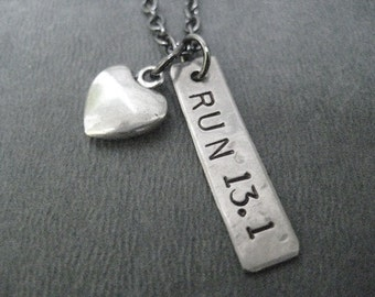 LOVE to RUN 13.1 with Puffed Heart - Half Marathon Running Necklace on Gunmetal chain - Run Gift - Running Jewelry - First 13.1 - First Half