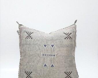 Moroccan Cactus Silk Pillow Cushion Cover, Handmade Sabra cactus silk Pillow, PN55