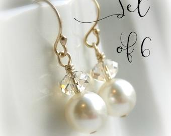 Pearl drop earrings, Bridesmaid pearl earrings set of 6 pairs gold bridesmaid earrings, white pearl, ivory pearl, Swarovski Crystal earrings