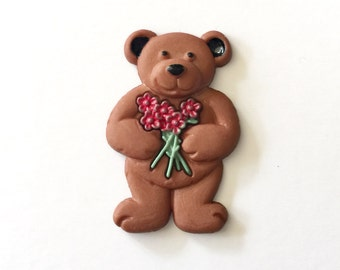 Bear with Flowers Pin, Bear Pin, Bear Tie Tack, Brown Bear Pin, Brown Bear Lapel Pin, Bear Brooch
