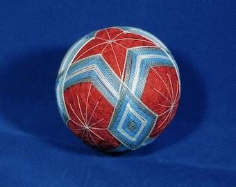 Rattling Temari Ball Ornament Blue and Gray on Red Home Decor Wedding Gift