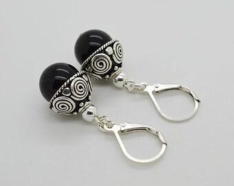 Onyx Lever Back Sterling Silver Earrings 87