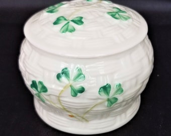 Basketweave Shamrock Trinket Dish by Belleek, Made in Ireland 1990s, Irish Porcelain Trinket Dish,