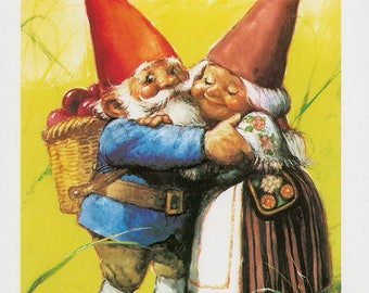 Vintage art print 80s. David the gnome and Lisa. By Rien Poortvliet.