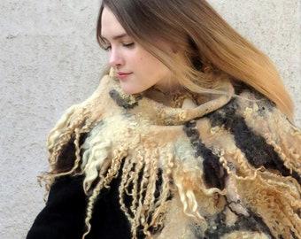 Wild Felted Scarf Large Wool Wrap  Raw Wool Locks Fringe Silk Nuno Felted Shawl Animal prints  Beige Brown