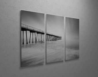 Hermosa Pier 2-2 by Moises Levy Gallery Wrapped Canvas Triptych Print