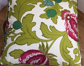 Floor pillow 25 inch square bright green leaf floral with a touch of fuchsia pink with insert