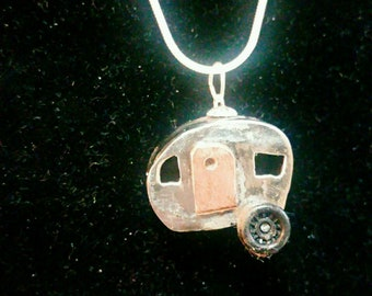 Sterling Silver Camper with copper door