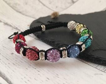 Rainbow Bracelet, Crystal Macramé Bracelet, Sparkly Rainbow Bracelet, Ladies Bracelet, Crystal Beaded Bracelet, Macramé Jewellery, Colourful