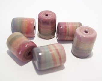 NOW ON SALE Handmade Polymer Clay Tube Beads in Dusty Muted Colors