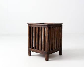 vintage teak magazine holder, planter box,  small slat wood storage bin