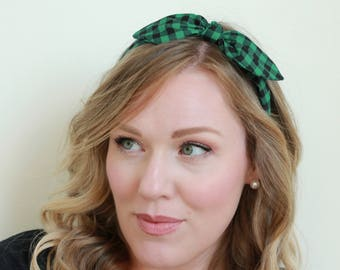 Buffalo Check Headband Hair Accessories Womens Headband Plaid Green and Black Headband Fabric Headband Adult Headband Scarf Headband