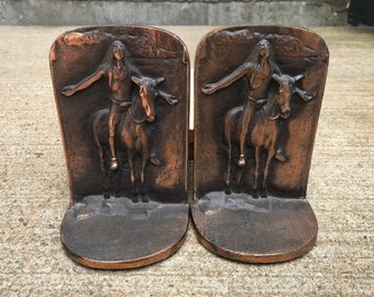 Appeal to the great spirit Native American solid bronze bookends vintage home decor horse southwest southwestern