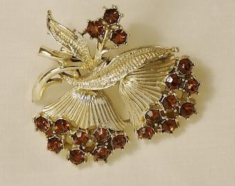 Vintage Amber Rhinestone Brooch Pin, Rhinestone, Vintage Brooch, Vintage Pin