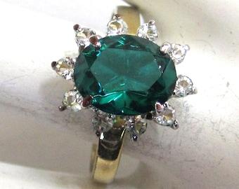 14K Yellow Gold Electroplate Faux Emerald Rhinestone Ring