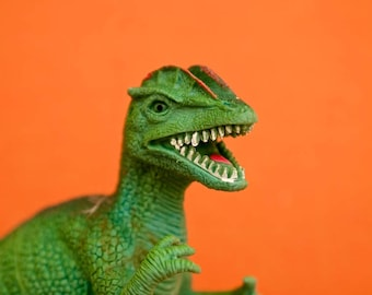 "Photography colorful plastic toy dino dinosaur  photograph orange green kids children wall art ""Rawr"""