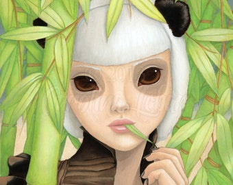 "Fine art print ""Ponyo"" Panda Girl with Big Eyes, eating Bamboo in Green Bamboo Forest part of Wild Things Series by Carolina Lebar - 8""x10"""