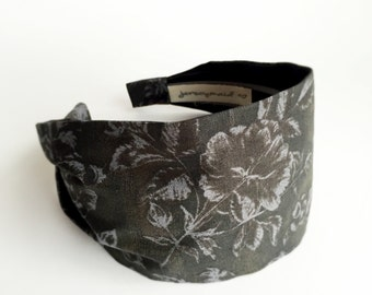 Charcoal grey womans headband hair wrap turban cotton hairband neutral dark grey fabric with flowers unique hair accessories for short hair
