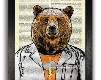 Hipster Scientist Bear Art Print Wall Decor, Bear Poster Artwork, Bedroom Wall Art, Dictionary Art Prints, Brown Bear Illustration Poster