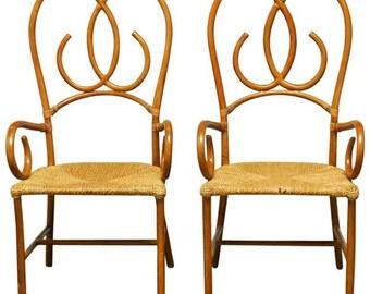 Pair Of French Art Deco Style Pretzel Rattan Armchairs