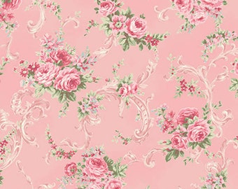 RURU Bouquet Rose For You  Cotton Fabric Quilt Gate RU2220-16B Small Roses on Pink