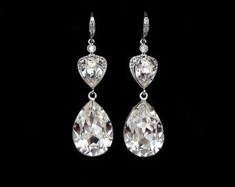 christmas prom bridal wedding bridesmaid gift Swarovski clear fancy teardrop crystal rhinestone rhodium silver teardrop cz hook earrings
