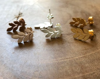 Leaves Studs - stainless steel earstuds - silver, minimal, trendy, earrings, gold, rosegold minimalistic, minimalism, goldplating