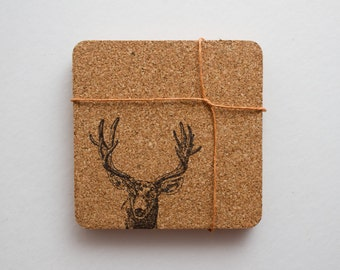 deer coasters, cork, cork coasters, coasters for guys, country coasters, cork coaster, deer cork coasters, drink coasters, square coasters