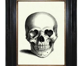 Halloween Skull Art Print Gothic Valentine's Day Skull heart-shaped Sockets Victorian Steampunk Art Print
