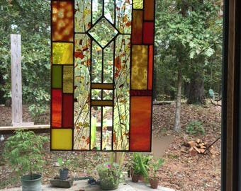 Autumn Glow Stained Glass Sun Catcher, panel