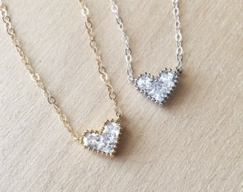 Bridesmaid Necklace, Bridesmaid Jewelry, Heart Jewelry, Diamond Heart Necklace, Cubic Zirconia Heart Pendant, Bridal Necklace, Tiny Gold CZ