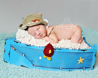 PRE-ORDER Newborn, Baby, Fisherman Hat, Little Fishes,  Custom Made to Order