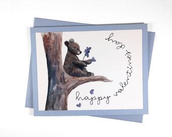 Handmade Valentine's Day card, blank card, bear illustration, valentine's day, valentine's card, watercolor, non profit, profits to charity